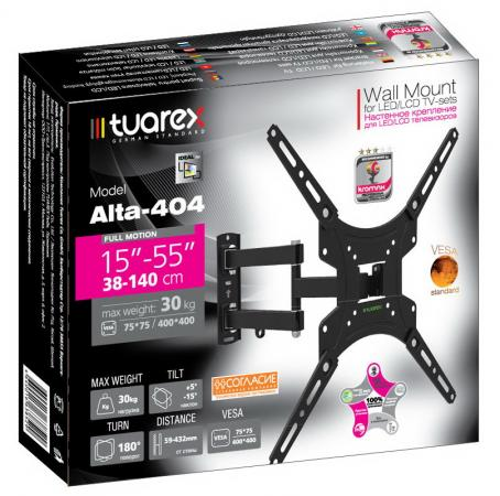 "цены на Кронштейн Tuarex ALTA-404 black, настенный для TV 15""-55"", поворот 180, наклон +5-15, от стены 59-432мм, макс 30кг, VESA 400x400"