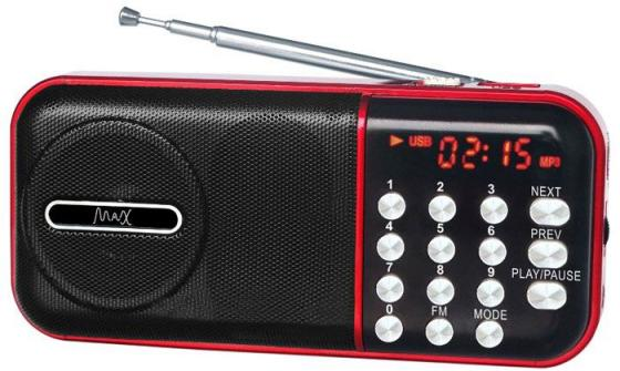 Радиоприемник MAX MR-321 Red/Black micro SD / USB, AM/FM приёмник, LCD экран, воспроизведение до 6 часов, 5 Вт, встроенный сабвуфер new 10 hd digital lcd screen car headrest monitor dvd usb sd player ir fm with remote controller remote mount bracket me3l