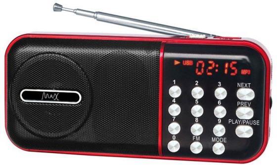 Радиоприемник MAX MR-321 Red/Black micro SD / USB, AM/FM приёмник, LCD экран, воспроизведение до 6 часов, 5 Вт, встроенный сабвуфер 968 diy 1 1 lcd multi media video music player module w remote controller usb sd fm round