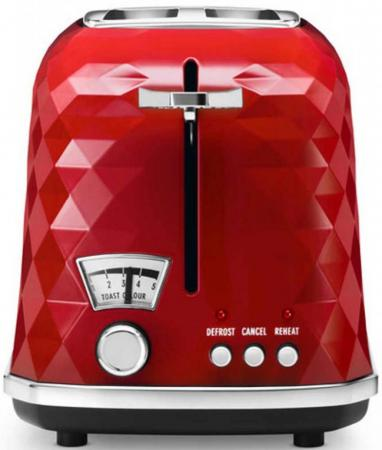 Тостер DeLonghi CTJ2103.R, 900Вт, разморозка, на 2 тоста, решетка для подогрева, поддон, красный чайник delonghi kboe2001 r 2000вт 1 7л красный