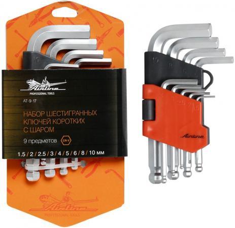 Набор ключей AIRLINE AT-9-17 с шаром 9 предметов (1.5.2.2.5.3.4.5.6.8.10мм) пласт.подвес набор ключей шестигранных удлиненных airline at 9 18