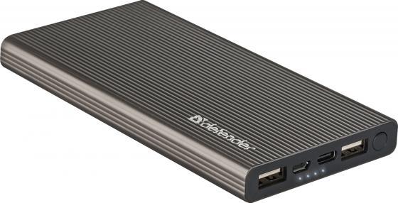 Внешний аккумулятор Power Bank 10000 мАч Defender ExtraLife Fast темно-серый 83642 тв тюнер внешний bbk smp123hdt2 темно серый smp123hdt2 темно серый