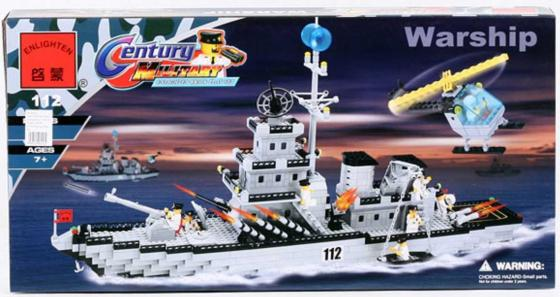 Конструктор ENLIGHTEN BRICK Warship 970 элементов BRICK112 xipoo the battleship military series 6 in 1 brick blocks patrol boat aircraft carrier helicopter warship compatible assemble toy