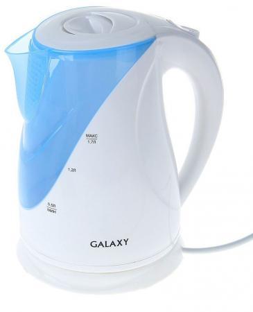 Чайник GALAXY GL 0202 2200 Вт белый голубой 1.7 л пластик цена и фото