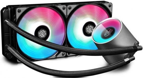 Комплект водяного охлаждения DEEPCOOL CASTLE 280 RGB LGA20XX/LGA1366/LGA115X/TR4/AM4/AM3/+/AM2/+/FM2/+/FM1 (8шт/кор,TDP Intel 150W, RGB Lighting, PWM, DUAL FAN) RET thermalright le grand macho rt computer coolers amd intel cpu heatsink radiatorlga 775 2011 1366 am3 am4 fm2 fm1 coolers fan