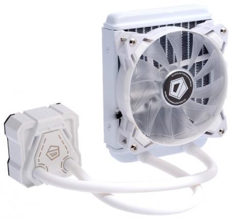 Комплект водяного охлаждения ID-COOLING ICEKIMO 120W LGA2011/1366/1151/50/55/56/AM4/FM2/+/FM1/AM3/+/AM2/+/(12шт/кор,TDP 150W, Белый, PWM, FAN 120mm) RET комплект водяного охлаждения id cooling frostflow 240l b lga2011 1366 1151 50 55 56 775 am4 fm2 fm1 am3 am2 8шт кор tdp 200w черно синий помпа с led подств pwm dual fan 120mm ret