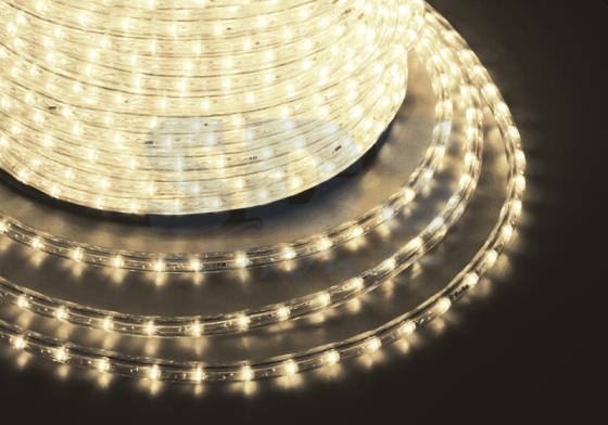 Дюралайт LED, постоянное свечение (2W) - теплый белый, 24 LED/м O10мм, бухта 100м
