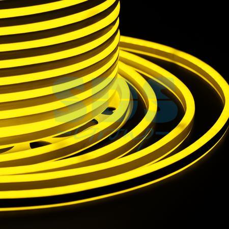 Гибкий Неон LED SMD, компактный 7х12мм, двусторонний, жёлтый, 120 LED/м, бухта 100м e27 6w 450lm 6000k 120 smd 3014 led white light candle lamp ac 85 265v