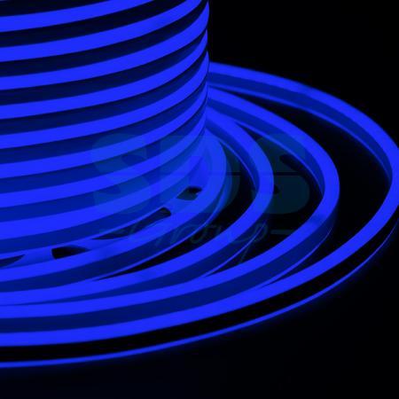 Гибкий Неон LED SMD, компактный 7х12мм, двусторонний, синий, 120 LED/м, бухта 100м e27 6w 450lm 6000k 120 smd 3014 led white light candle lamp ac 85 265v