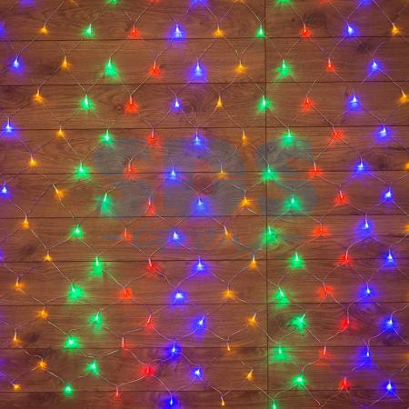 Гирлянда Сеть 1х1,5м, прозрачный ПВХ, 96 LED Мультиколор