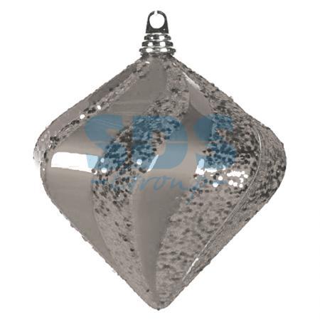 """Елочная фигура """"Алмаз"""", 25 см, цвет серебряный елочная фигура quot шар вихрь quot 20 см цвет серебряный"""