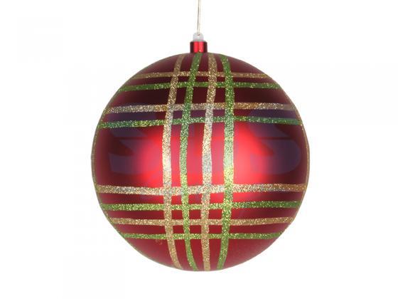 Елочная фигура Шар в клетку 25 см, цвет красный мульти светящееся украшение neon night фигура шар 20cm 200 led blue 501 607