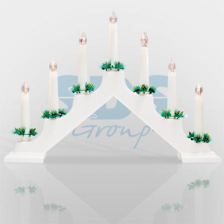 Новогодняя горка 7 свечек, цвет корпуса: Белый, цвет свечения: Теплый белый горка модерн 7