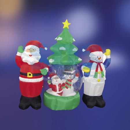 3D фигура надувная Дед Мороз и Снеговик, диаметр шара 120 см, общий размер 210 см, с подсветкой, компрессор с адаптером 12В, IP 44 NEON-NIGHT 3d фигура надувная дед мороз размер 600 см компрессор 160 вт с адаптером 12в ip44 neon night