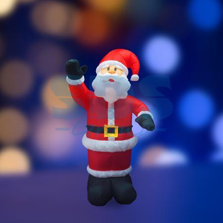 3D фигура надувная Дед Мороз приветствует, размер 150 см, внутренняя подсветка 4 лампы, компрессор с адаптером 12В, IP 44 NEON-NIGHT