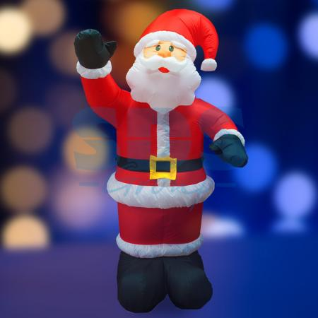 3D фигура надувная Дед Мороз приветствует, размер 240 см, внутренняя подсветка 5 ламп, компрессор с адаптером 12В, IP 44 NEON-NIGHT фигура дед мороз на лошади 35см бордо