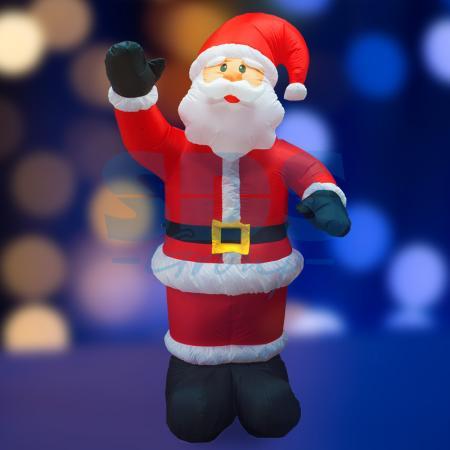3D фигура надувная Дед Мороз приветствует, размер 240 см, внутренняя подсветка 5 ламп, компрессор с адаптером 12В, IP 44 NEON-NIGHT removable 3d seaside night fake window wall sticker