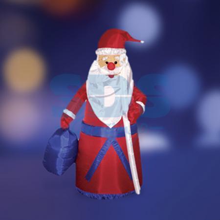 3D фигура надувная Дед мороз с подарком, размер 180 см, внутренняя подсветка 2 лампы, компрессор с адаптером 12В, IP 44 NEON-NIGHT removable 3d seaside night fake window wall sticker