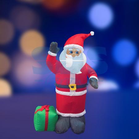 3D фигура надувная Дед Мороз с подарком, размер 120 см, внутренняя подсветка 3 лампы, компрессор с адаптером 12В, IP 44 NEON-NIGHT фигура дед мороз на лошади 35см бордо
