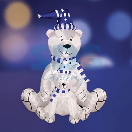 3D фигура надувная Медведица с медвежонком, размер 180 см, внутренняя подсветка 2 лампы, компрессор с адаптером 12В, IP 44 NEON-NIGHT фигура actuel медведица с медвежонком 26см