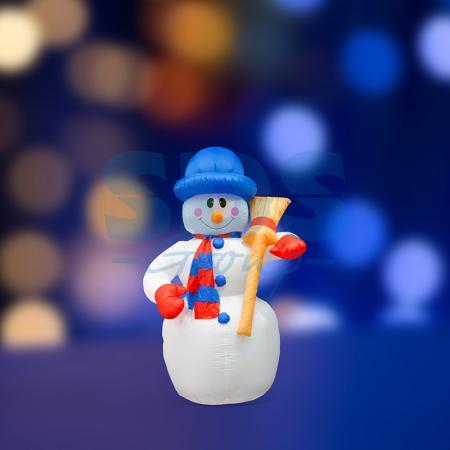 3D фигура надувная Снеговик с метлой, размер 120 см, внутренняя подсветка 3 лампы, компрессор с адаптером 12В, IP 44 NEON-NIGHT фигура светодиодная neon night снеговик высота 10 см