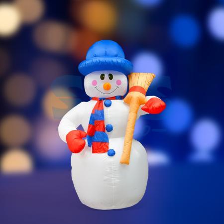 3D фигура надувная Снеговик с метлой, размер 180 см, внутренняя подсветка 4 лампы, компрессор с адаптером 12В, IP 44 NEON-NIGHT фигура светодиодная neon night снеговик высота 10 см