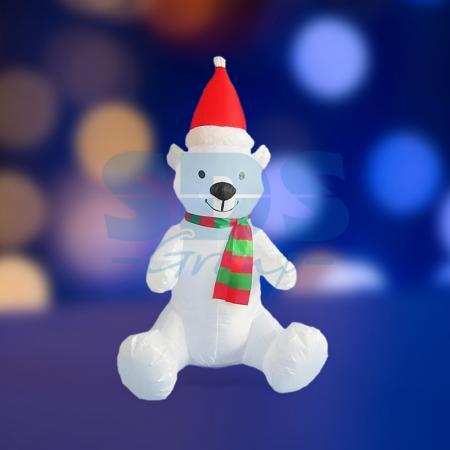 3D фигура надувная Белый медведь, размер 120 см, внутренняя подсветка 5 ламп, компрессор с адаптером 12В, IP 44 NEON-NIGHT removable 3d seaside night fake window wall sticker