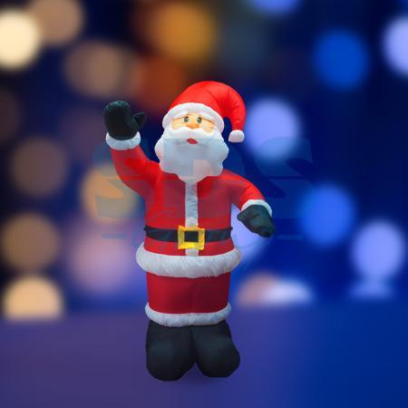 3D фигура надувная Дед Мороз приветствует, размер 180 см, внутренняя подсветка 5 ламп, компрессор с адаптером 12В, IP 44 NEON-NIGHT removable 3d seaside night fake window wall sticker