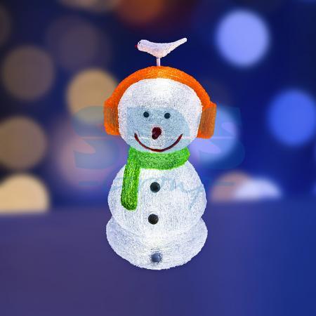 Акриловая светодиодная фигура Снеговик в наушниках 27х27х60 см,16 светодиодов, IP 44, понижающий трансформатор в комплекте, NEON-NIGHT фигура акриловая светодиодная neon night снеговик с шарфом 40 led с понижающим трансформатором 30 см