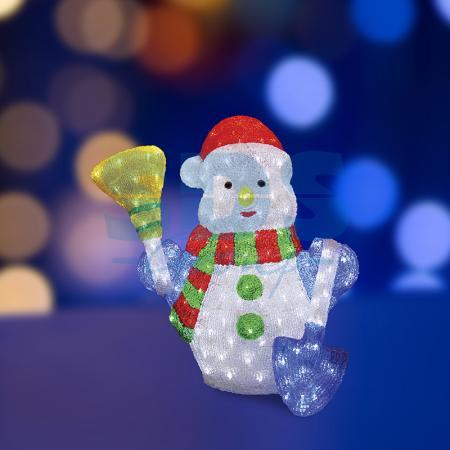 Акриловая светодиодная фигура Снеговик с метлой и лопатой 60 см, 260 светодиодов, IP 44, понижающий трансформатор в комплекте, NEON-NIGHT фигура акриловая светодиодная neon night снеговик с шарфом 40 led с понижающим трансформатором 30 см
