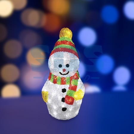 Акриловая светодиодная фигура Снеговик с шарфом 30 см, 40 светодиодов, IP 44, понижающий трансформатор в комплекте, NEON-NIGHT цена