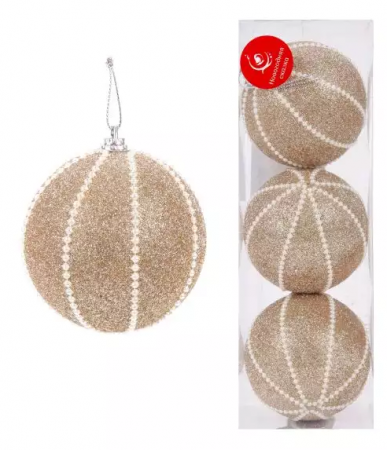 цены Елочные украшения Новогодняя сказка 8 см 3 шт золотой пластик, блестки