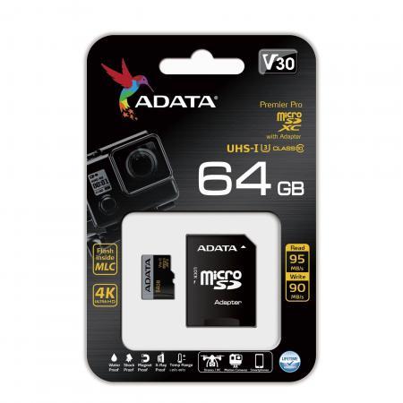 Карта памяти 64GB ADATA Premier Pro microSDXC UHS- U3 Class 10(V30G) 95 / 90 (MB/) с адаптером