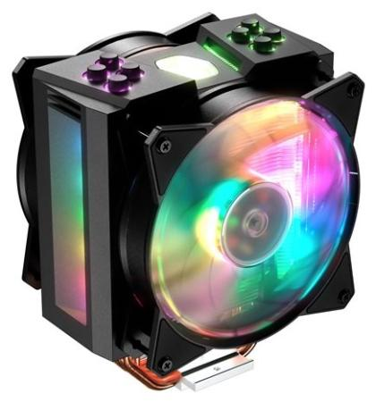 Cooler Master CPU Cooler MasterAir MA410M, 600-1800 RPM, 150W, addressable RGB, lighting controller, Full Socket Support 120mm rgb adjustable led cpu cooling fan computer cooler silent fans radiator heatsink controller remote for pc