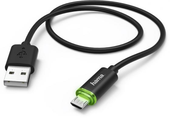 Кабель microUSB 1м HAMA 00178365 круглый черный кабель lightning 1м wiiix круглый cb120 u8 10b