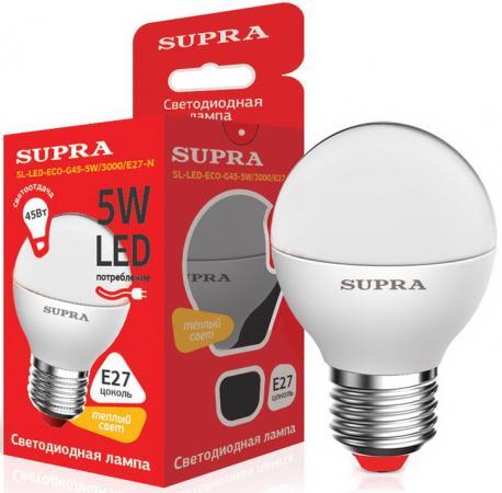 Лампа светодиодная шар Supra SL-LED-ECO-G45 E27 5W 3000K лампа светодиодная supra sl led eco g45 5w 3000 e27 n