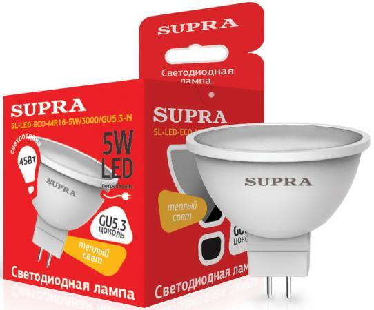 Лампа светодиодная Supra SL-LED-ECO-MR16-5W/3000/GU5.3 лампа светодиодная supra sl led eco g45 5w 3000 e27 n