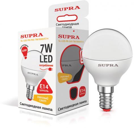 Лампа светодиодная Supra SL-LED-PR-P45-7W/3000/E14 цена 2017