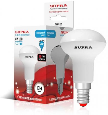 Лампа светодиодная Supra SL-LED-PR-R50-6W/4000/E14 телефон supra stl 111 белый