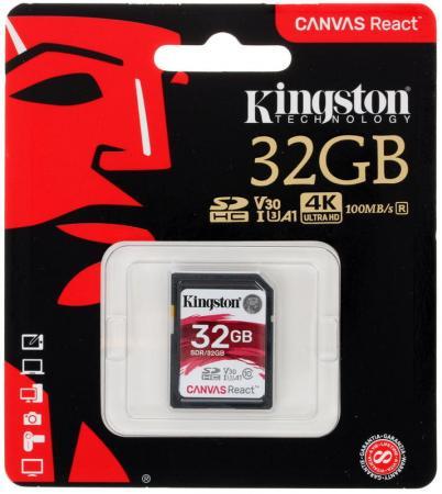 Флеш карта microSDHC 32Gb Class10 Kingston SDCR/32GB Canvas React + adapter флеш карта microsdhc 32gb class10 transcend ts32gusdhc10u1 ultimate