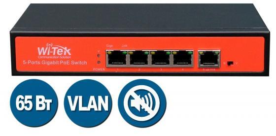 цена на Коммутатор Wi-Tek WI-PS305G неуправляемый 4x10/100/1000Mbps PoE+ 802.3at/af 65Вт 1x10/100/1000Mbps VLAN