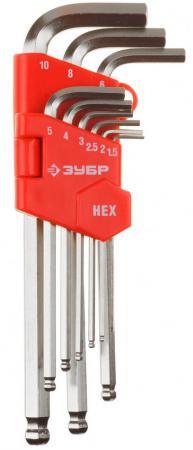 Набор ЗУБР 27461-2_z02 МАСТЕР Ключи имбусовые длинные с шариком, Cr-V, HEX 1,5-10мм, 9 пред