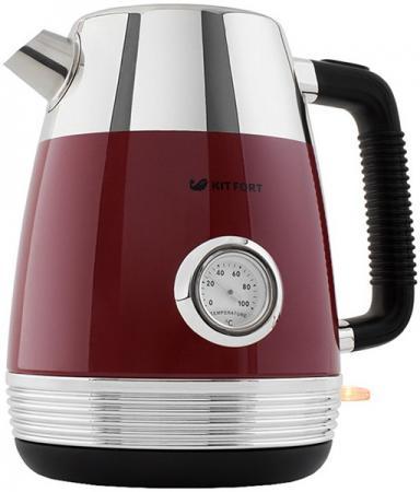 Чайник электрический KITFORT КТ-633-2 2150 Вт красный 1.7 л нержавеющая сталь чайник электрический kitfort кт 665 3 2150 вт белый 1 8 л нержавеющая сталь