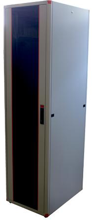цена на Шкаф напольный EVOLINE 1947U600x800 передняя дверь одностворчатая стекло с металлической рамой слева и справа,задняя дверь одностворчатая металлическая ,цвет серый