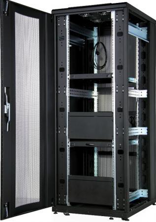 Шкаф напольный CloudMax 1942U800x1000, передняя дверь одностворчатая перфорированная 80%,задняя дверь двустворчатая перфорированная 80%,цвет черный шкаф напольный cloudmax 1936u800x1000 передняя дверь одностворчатая перфорированная задняя дверь двустворчатая перфорированная цвет черный