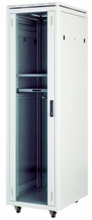 """Шкаф напольный Universal Line 19"""" 32U 600x600 передняя дверь одностворчатая стекло с металлической рамой слева и справа, задняя дверь одностворчатая металлическая с щеточными кабельными вводами, цвет серый"""