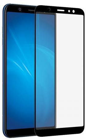Закаленное стекло с цветной рамкой (fullscreen + fullglue) для Samsung Galaxy A6 (2018) DF sColor-38 (black)