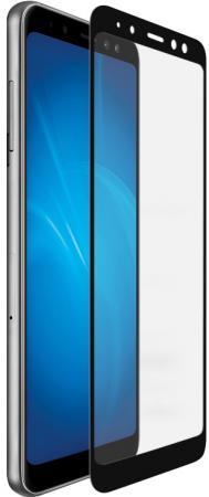Закаленное стекло с цветной рамкой (fullscreen+fullglue) для Samsung Galaxy A8 (2018) DF sColor-36 (black) аксессуар закаленное стекло motorola moto e4 df fullscreen mcolor 03 black