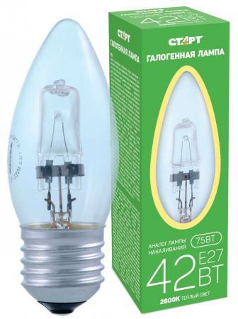 СТАРТ (4607175857666) Галогенная лампа. Теплый свет. Колба - свеча. ГЛН ДС 42Вт Е27 /40 лампа светодиодная navigator е27 4вт винтаж st64 золотистая колба 2500к теплый свет