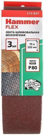 цена на Лента шлиф. Hammer Flex 212-027 75 Х 533 Р 80 по 3 шт.